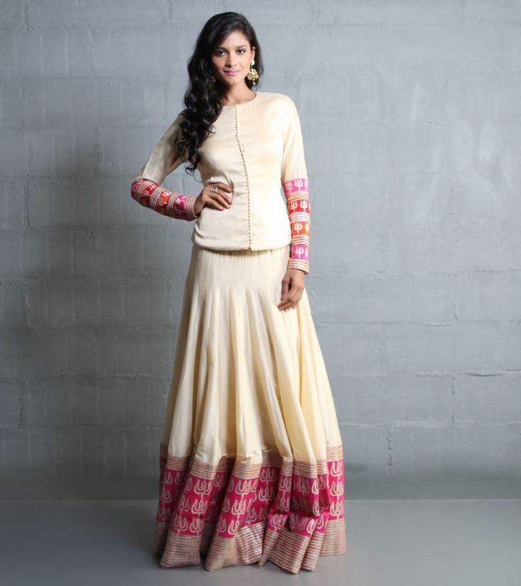 Beige And Pink Cotton Silk Lehenga Set With Aari Work