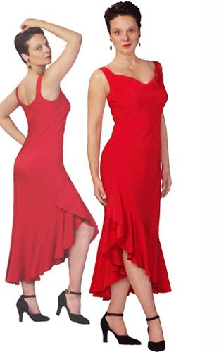 red ruffled tango dress - asymmetrical hem
