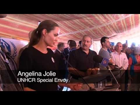 UNHCR Special Envoy Angelina Jolie and the refugee agency's chief, António Guterres, meet Syrian refugees in Jordan and hear their harrowing tales.