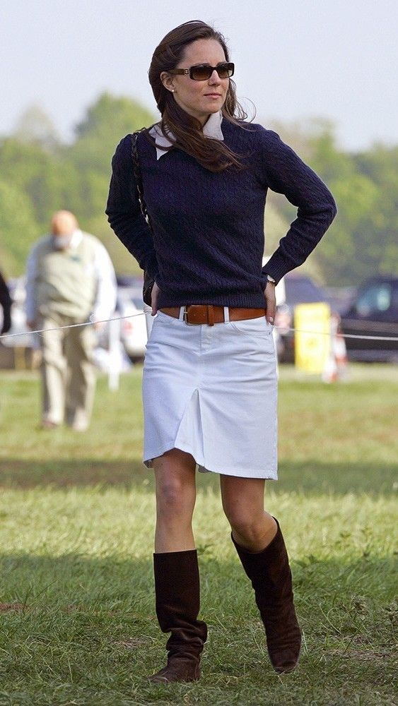 Kate wore a sweater and pencil skirt with boots to the Badminton Horse Trials, mastering that transitional time when Spring has a chill in the air. via @AOL_Lifestyle Read more: http://www.aol.com/article/2015/03/06/kate-middletons-style-transformation-all-of-her-best-royal-loo/20642964/?a_dgi=aolshare_pinterest#fullscreen
