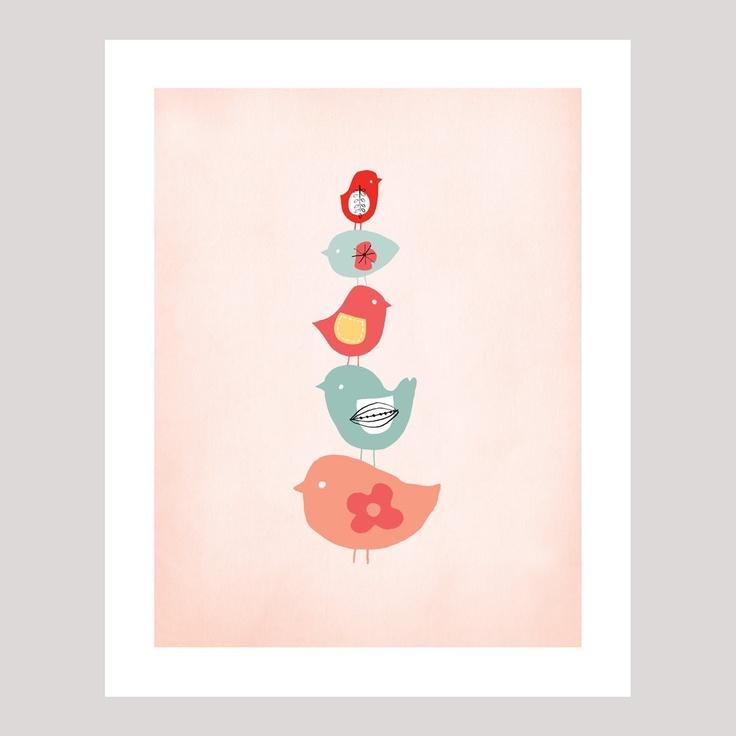 """""""Sweet bird stack"""" art print - Printspace - Cake inspiration: Sweet Birds, Cakes Inspiration"""