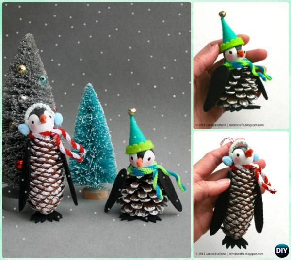 DIY Pine Cone Penguin Ornament Instruction - Kids Pine Cone Craft Ideas Projects