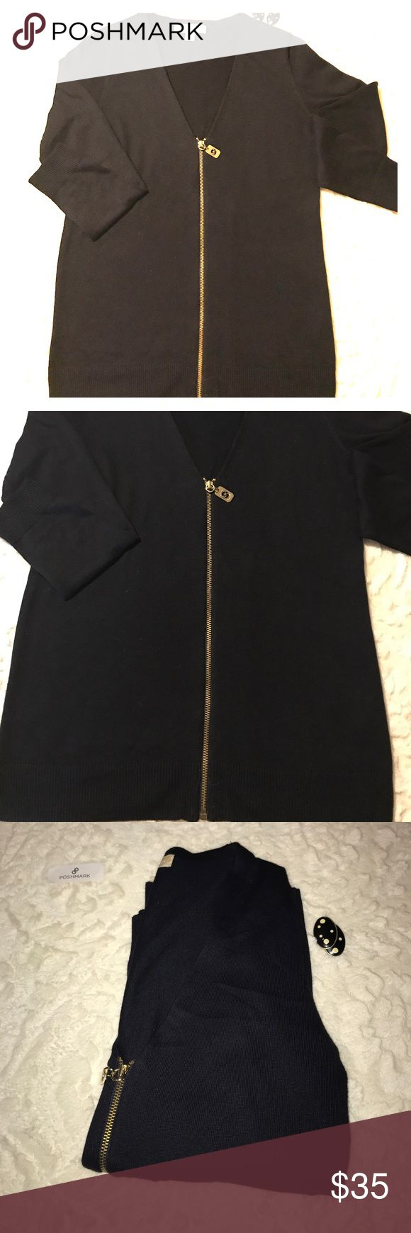 Michael Kors Blue Zip Up Cardigan Dark Blue Gold zip Up Cardigan. Photo looks black but it's a dark blue. Size Small. 52% cotton and 45% Poly Michael Kors Sweaters Cardigans
