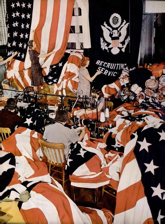Making flags, Philadelphia, February 1942
