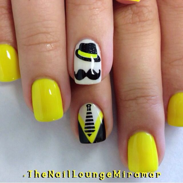Mustache , neon yellow, suit tie, nail art design