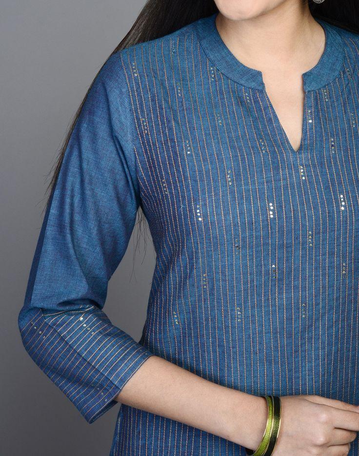 Fabindia.com | Cotton Mangalgiri Plain Badla Mini Kurta