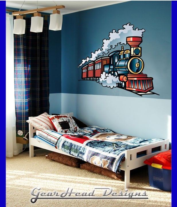 Delightful Train Wall Sticker From Gearhead Designs Perfect Decal For Boys Bedrooms!  28 High X 35 Wide Our Stickers Are Made In Our Shop With Care!