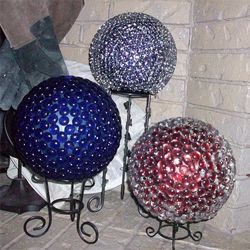 Bowling Ball Gazing Balls (made using E6000 craft adhesive and a bag of flat marbles)