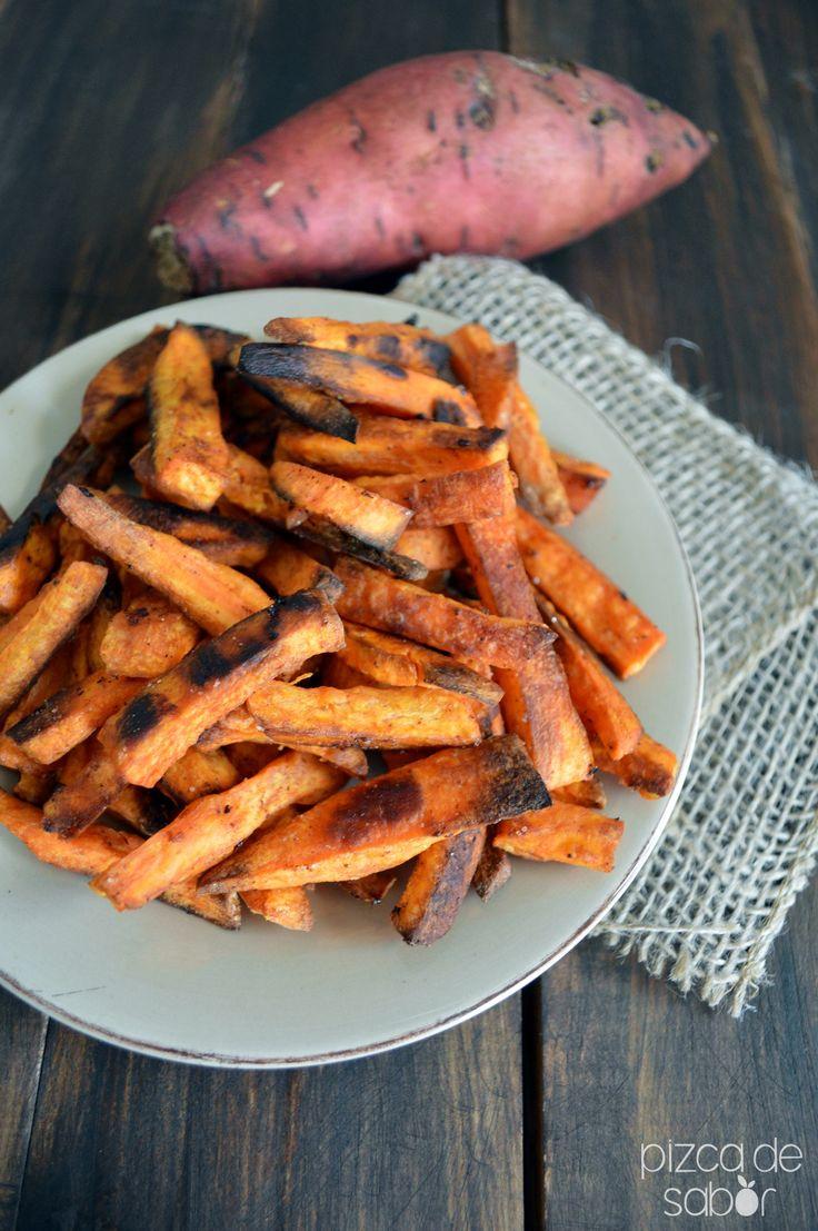 Cómo hacer papas fritas o a la francesa de camote en el horno www.pizcadesabor.com