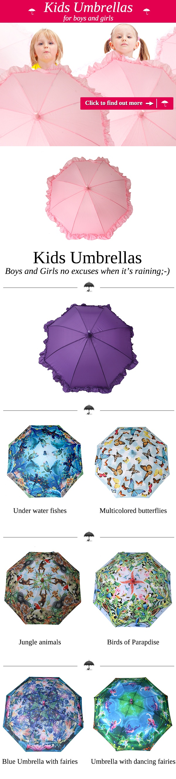 No excuses when it's raining. Click on the image to find out our kids #umbrellas are printed with nice and cute motifs of #butterflies, #fishes and many more to brighten every rainy day.  https://www.rosemarie-schulz.eu/en/15-kids-umbrellas