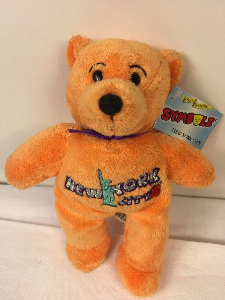 Symbolz Plush Bear New York City Statue Liberty Orange Bean Bag Stuffed Animal #Symbolz