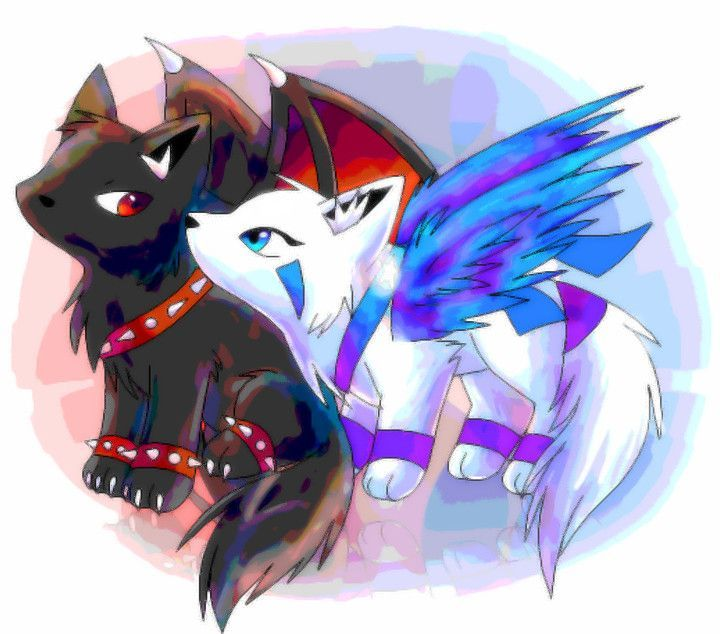 Wolves with wings on pinterest wolves anime wolf and - Anime wolves in love ...