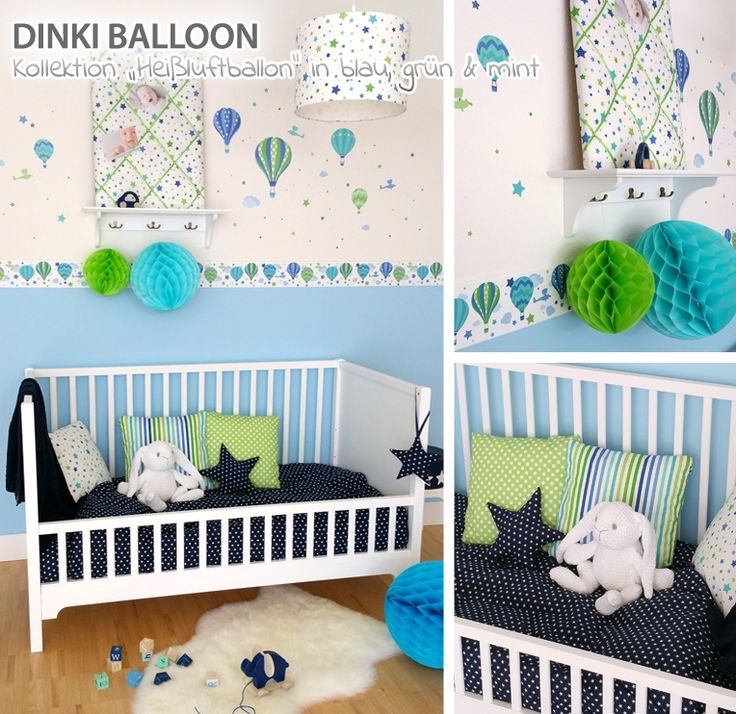 Dinki Balloon Kleinkinder-Zimmer 'Heißluftballons' blau/grün