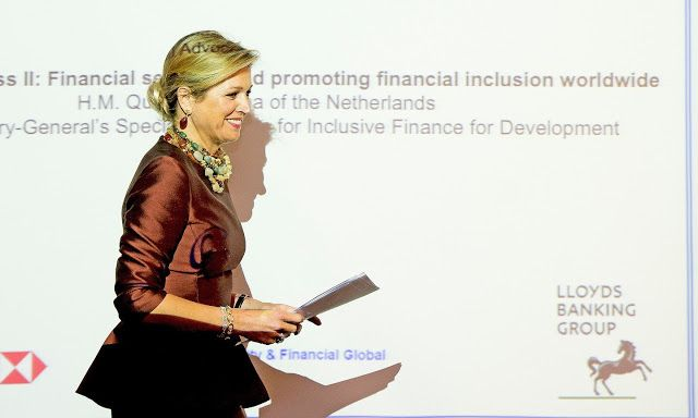 Queen Maxima attends the Financial Inclusion in London Queen Maxima of The Netherlands attends the Financial Inclusion: The Next Move Forward conference at America Square Conference Centre on January 19, 2015 in London, England
