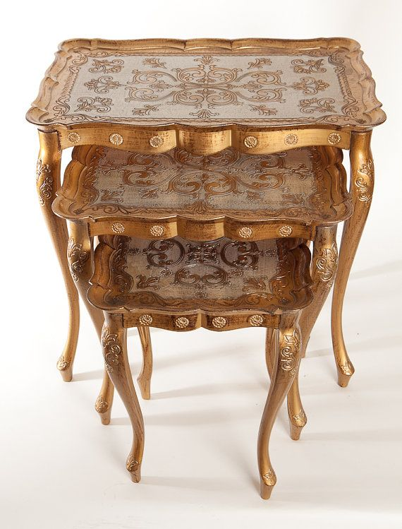 Set of 3 Italian Florentine Gold Toile Nesting Tables & 528 best Furniture: Accent and Occasional Tables images on Pinterest ...