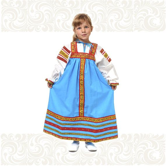 Cotton costume for girl Nadia girl dress russian sarafan