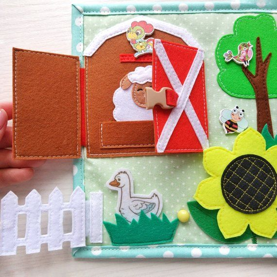 Quiet Book Toddler Tablet About The Farm And Pets Felt Barn Etsy Quiet Book Toddler Tablet Montessori Toys