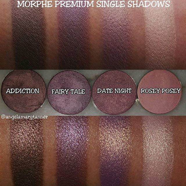 NEW MORPHE PREMIUM SHADOWS ($5.99) MORPHE recently came out with a whole bunch of new single shadows as well as 15 larger 'premium' shadows. These are 4 of the 15. Their regular shadows are .05oz and $2.29. The premium shadows are 6 bucks and .12oz. The pans are the same size as MUFE, SUGARPILL etc. The main difference, that I can see, in the ingredients is that they don't have mineral oil like the regular shadows. They're considered to be foiled shadows so they're all metallic, no mattes.