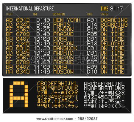 Airport Departure or Arrival board. Electronic table and Digital Led Font.