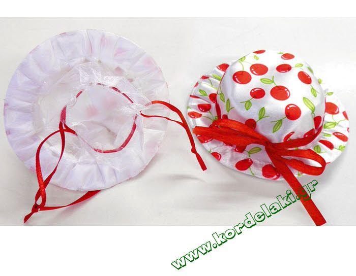 Πουγκί καπέλο κερασάκια για μπομπονιέρες γάμου και βάπτισης