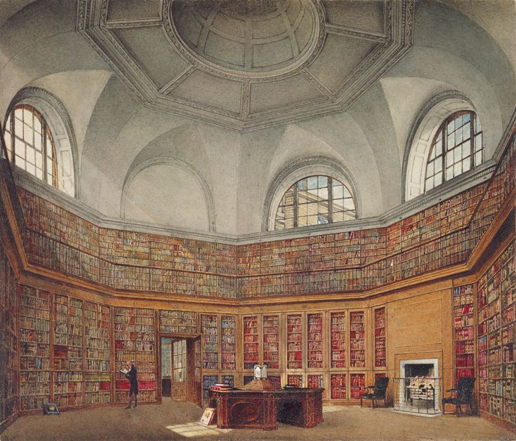 Buckingham House: The Octagon Library     Creator: James Stephanoff (1789-1874) (artist)    Creation Date: 1818    Materials: Watercolour and bodycolour over pencil    Acquirer:   George IV, King of the United Kingdom (1762-1830)    Provenance: Probably acquired by George IV    Description: This view of one of the King's four library rooms - entitled by Pyne 'The King's Library (II)' - shows the fine octagonal room added at the south-eastern extent of Buckingham House.