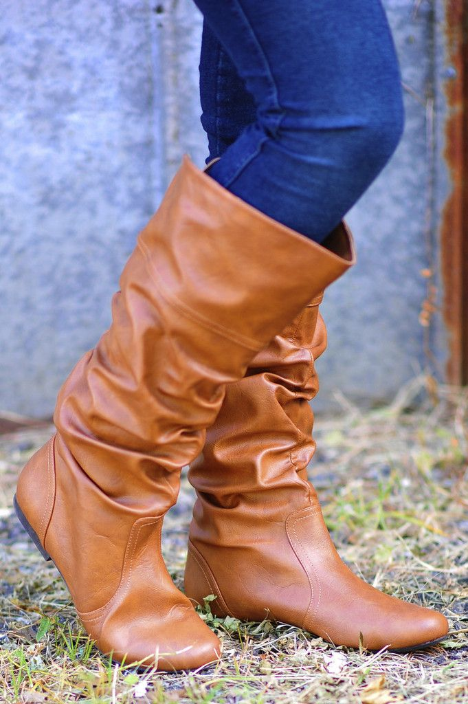 I like the scrunched look of these boots and the fact they don't have a heel...maybe a different color for me though