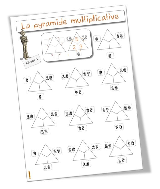 La pyramide des multiplications fiches l ves for Table de multiplication de 2 a 5