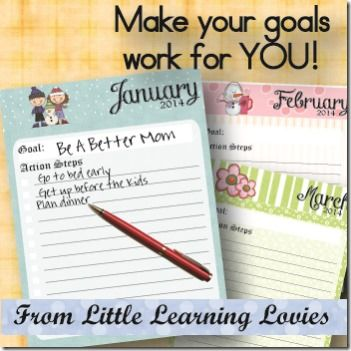Make Your Goals Work For YOU!  Tutorial and Freebie  A Step By Step guide to setting goals and actually achieving them!  For grown ups and kids alike :)  Includes a FREE Goal planner for 2014.  Start it any time -- It's never too late to make a difference!