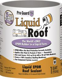 Liquid Roof, Fast acting low cost sealant that protects the roof of your caravan