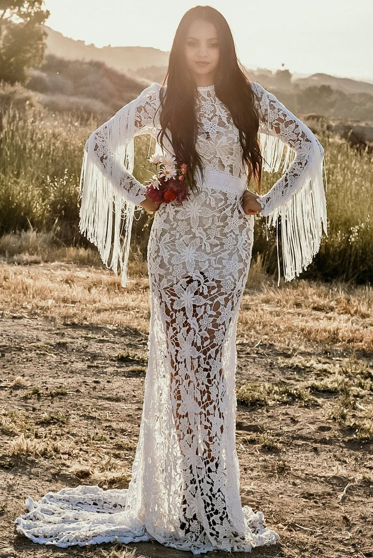 Crochet Lace Long Sleeve Fringe Mermaid Wedding Maxi Dress Etsy Maxi Dress Wedding Fringe Wedding Dress Crochet Wedding Dresses [ 1099 x 736 Pixel ]