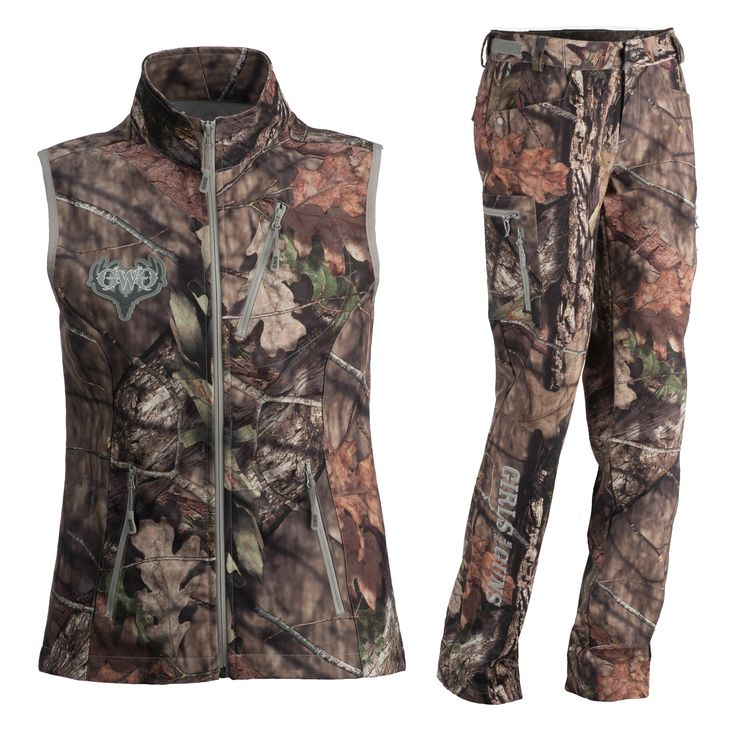 The Girls With Guns Hunting Gear Lineup features everything from base layers to rain gear and  everything in between!  The midweight vest and pants in Mossy Oak Country camouflage allow for full functionality with the fit and features that a woman hunter needs.