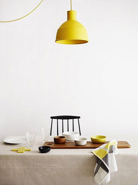 Yellow muuto pendant light