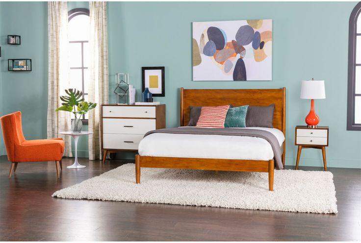 Alton Cherry Queen Platform Bed - Living Spaces