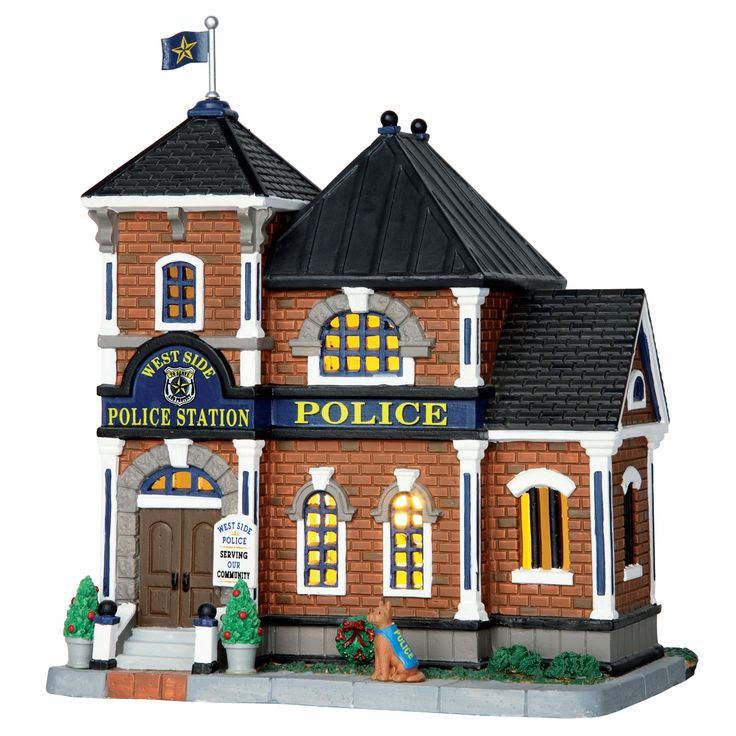 Lemax West Side Police Station. SKU# 65085. Released in 2016 as a Lighted Building for the Caddington Collection.