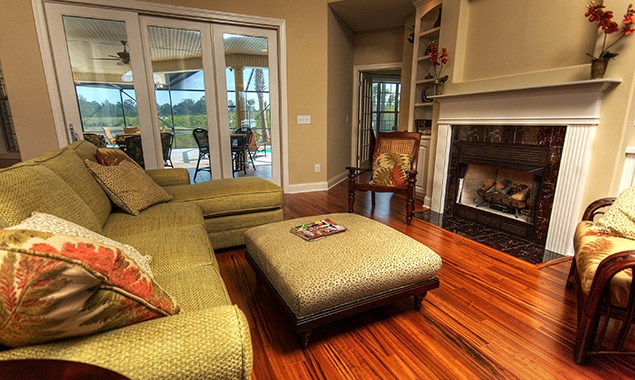 This is a beautiful shot of the open floorplan of the Valencia living room