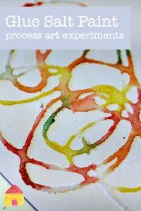 glue salt paint process art experiments