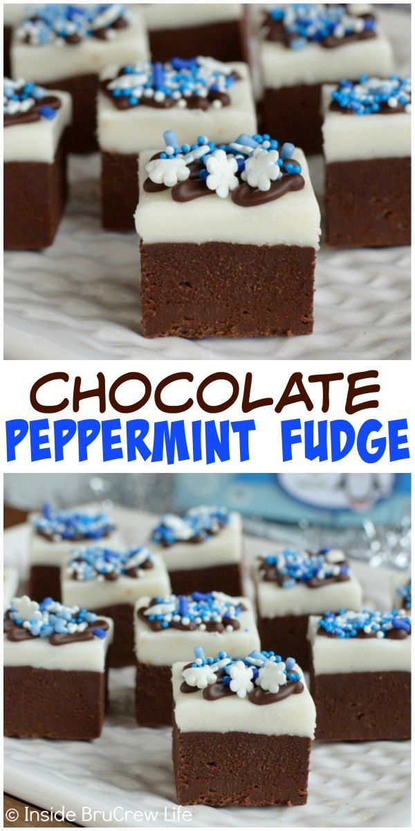 This Chocolate Peppermint Fudge has layers of creamy chocolate fudge ...