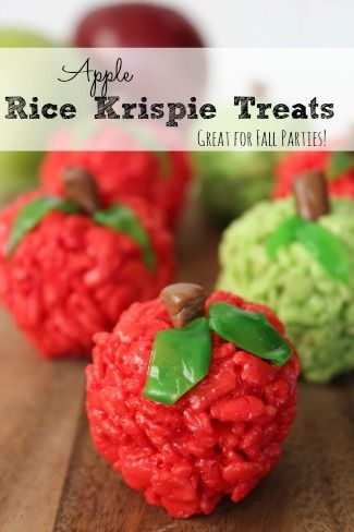 """Need a cute idea for a fall party?  Try making these Apple Rice Krispie Treats!  Sure - you can make """"regular  RK treats"""", but these will look so awesome at any party!"""