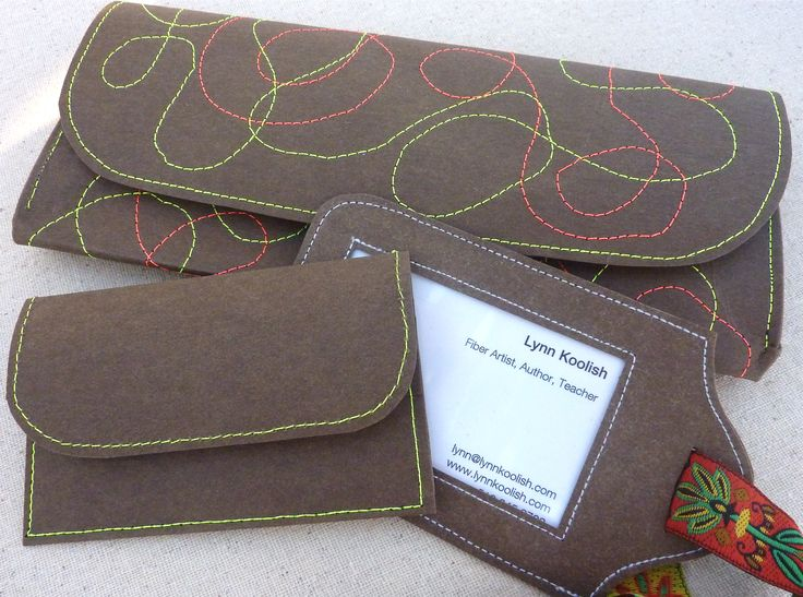 Wallet, Business Card Holder, Luggage Tag set made out of kraft-tex. Designed by Lynn Koolish