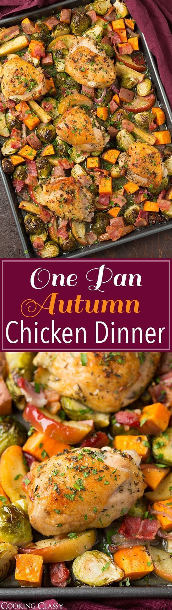 One Pan Autumn Chicken Dinner - easy to make and clean up is a breeze! Brussels sprouts, apples, sweet potatoes, bacon, shallots and herb chicken. Delicious!