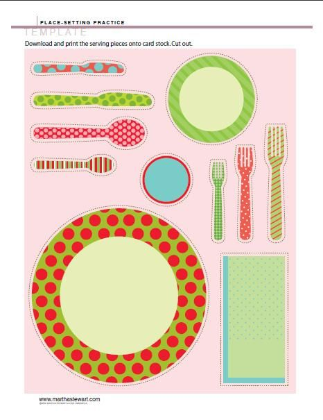 Martha Stewart provides this colorful placesetting in a printable pdf.  Arrange them on your own paper or cardstock, glue, and laminate for a pretty placemat.   <>