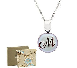 Honora Grey Cultured Pearl 12.0mm Coin Sterling Initial Pendant