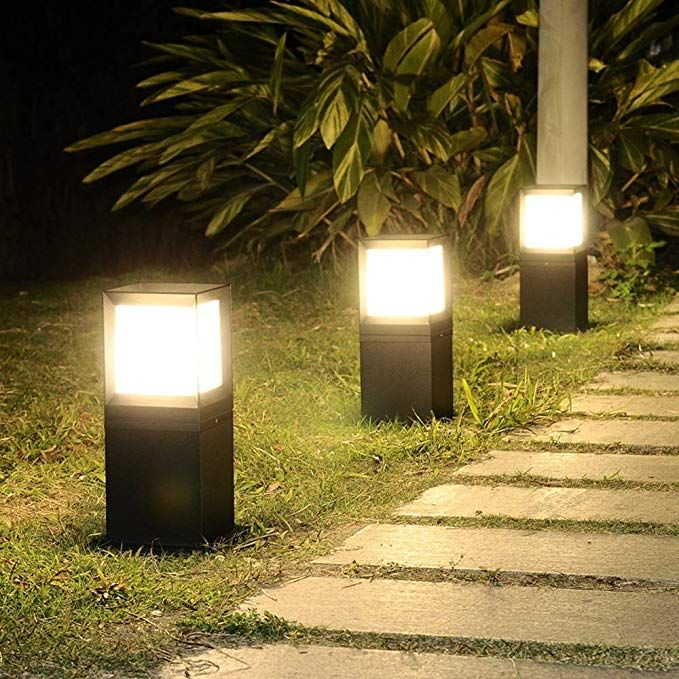 Amazon Com Pinjeer Outdoor Square Led Aluminum Waterproof Pc Post Light Modern Simple European Rainproof Landsca Pillar Lights Post Lights Community Gardening