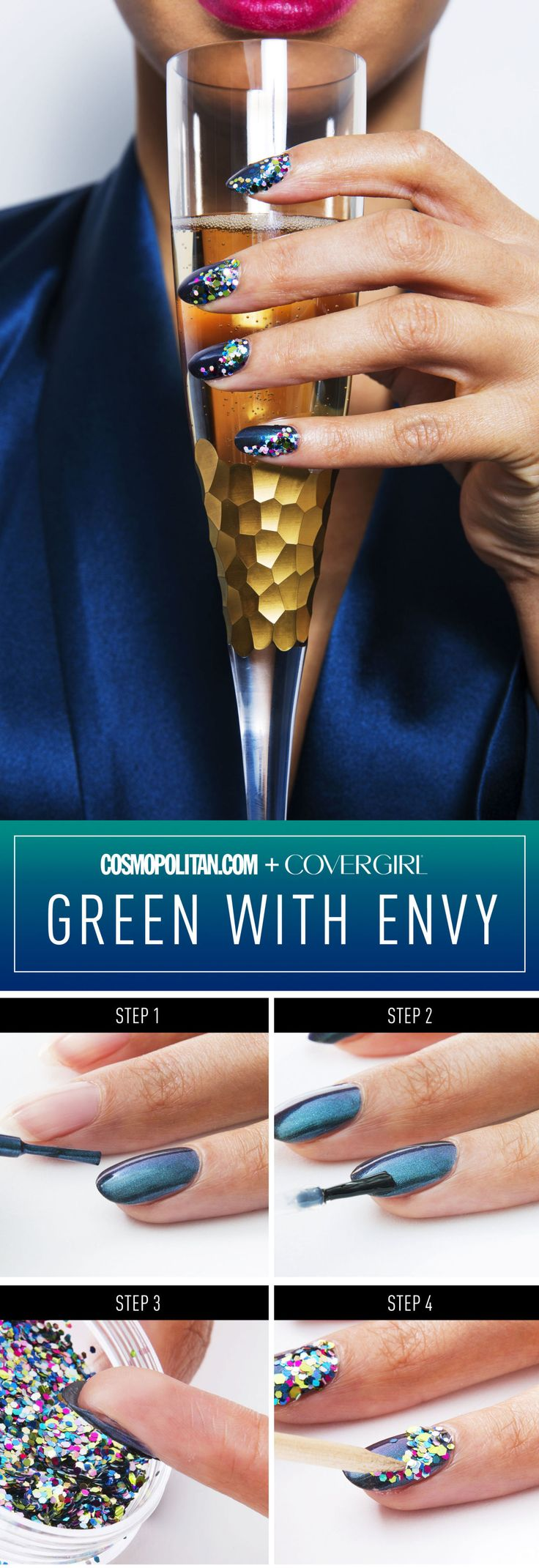 """NEW YEAR'S EVE NAIL IDEAS: Click through for 4 New Year's Eve nail looks created by pro manicurist Elena Capo. These fun mani ideas scream, """"Let's Party!"""" DIY this glam look, called """"Green with Envy"""" with a multidimensional teal polish, glitter, and a topcoat. Click through for the easy manicure tutorial."""