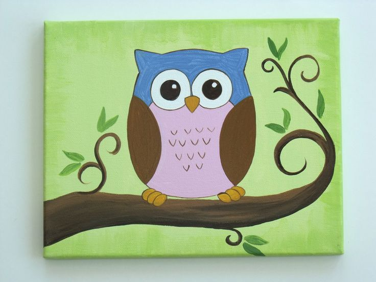 Cute Canvas Painting | This friendly, colorful little owl, is sitting high up in her tree ...