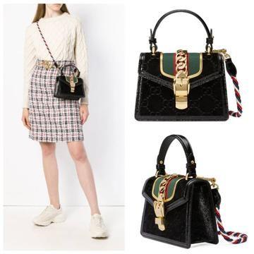 2405a0f9727 New 2018 Gucci Sylvie Gg Velvet Mini Black Leather Shoulder Bag MSRP  2400