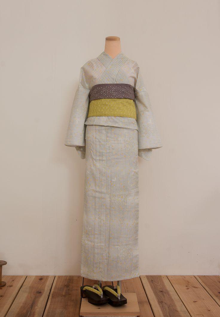 綿絽夏着物(浴衣)雨粒と紋白蝶 - 浴衣と夏きもの さく研究所浴衣と夏きもの さく研究所
