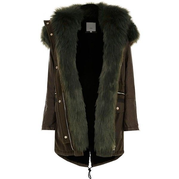 River Island Petite khaki green faux fur trim parka ($160) ❤ liked on Polyvore featuring outerwear, coats, jackets, coats / jackets, khaki, women, khaki green parka, hooded parka, khaki parkas and green parka coat