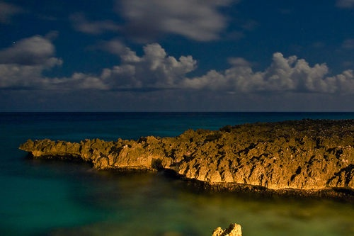Ironshore at night - West Bay, Grand Cayman