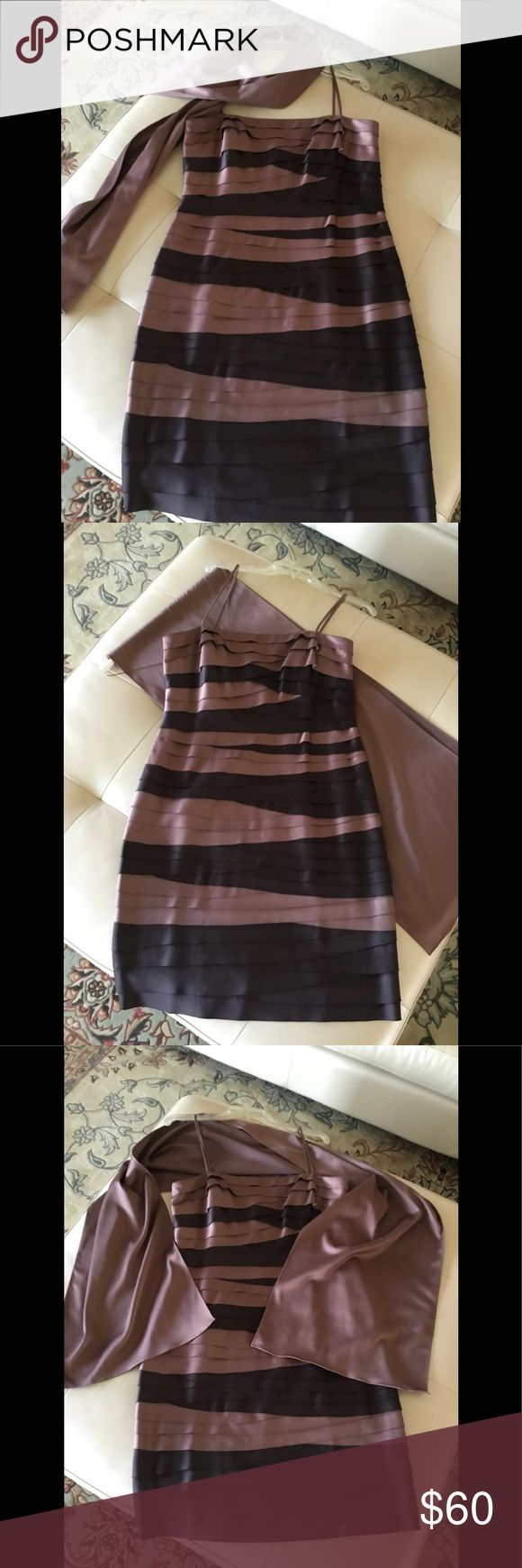 JS Cocktail Dres Lovely Mauve and Brown cocktail dress. Has lots of good times ahead. Extremely comfortable and compliments your shape. Has beautiful matching shawl. JS Collections Dresses Midi
